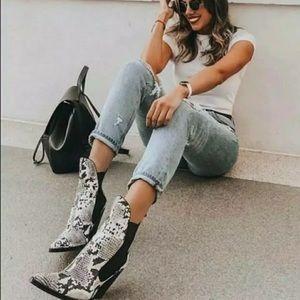 Women's Zara snakeskin cowboy ankle boots